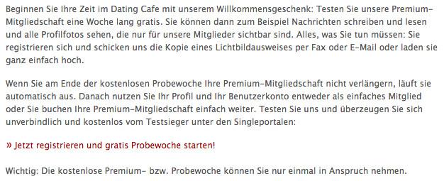 IST dating Cafe für Frauen kostenlos