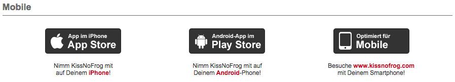 KissNoFrog gibt es auch als App