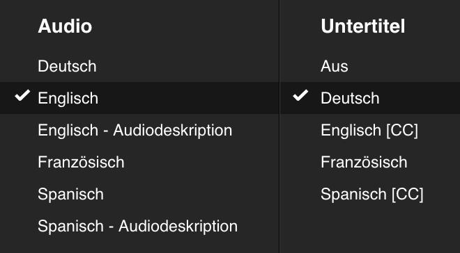Sprach- und Untertitel-Auswahl