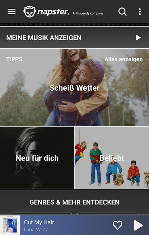 NapsterApp_Startseite