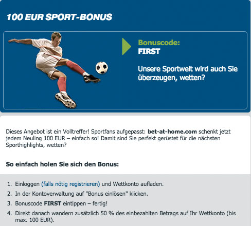 bonus bet at home euro
