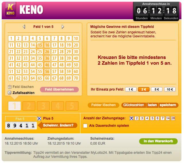 keno online spielen gebühren