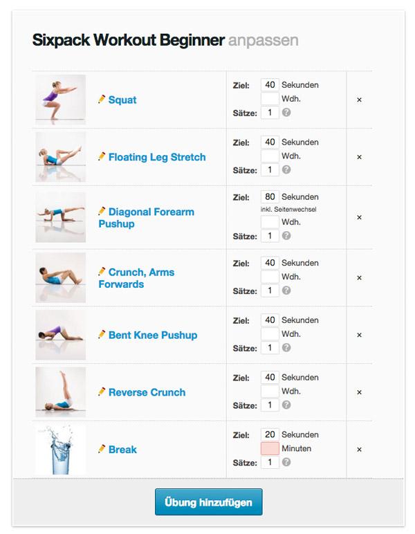 Workout anpassen